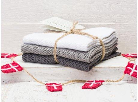 Solwang Wischtücher Weiß Grau Kombi 3er Pack Wischtuch aus Öko Tex zertifizierte Baumwolle hellgrau und dunkelgrau