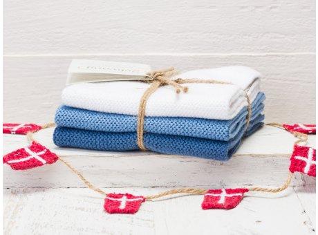 Solwang Wischtücher Weiß Staubig Blau Kombi 3er Pack Wischtuch aus Öko Tex zertifizierte Baumwolle