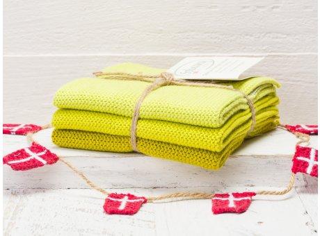 Solwang Wischtücher Zitronelle Gelb Kombi 3er Pack Wischtuch aus Öko Tex zertifizierte Baumwolle Drei gelbe Wischlappen im Set