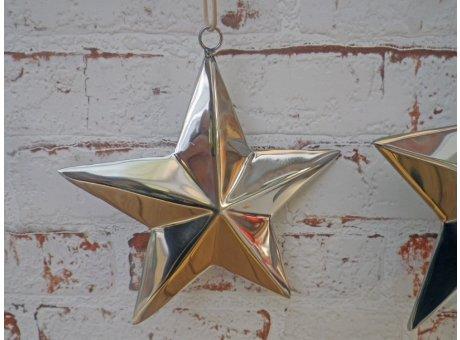 Stern Deko Hänger silber farbig aus Edelstahl mit Lederband zum Aufhängen