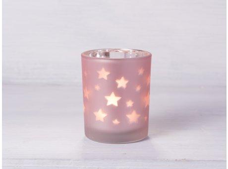 Teelicht Halter Stern matt rosa Windlicht mit Sternen