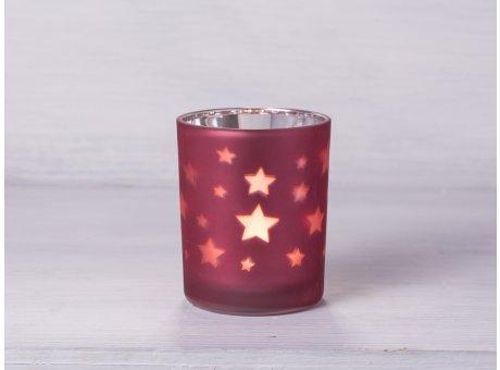 Teelicht Halter Stern matt rot Windlicht mit Sternen