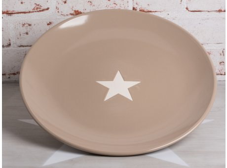 Teller Brightest Star taupe gross Krasilnikoff Essteller mit Stern aus Keramik