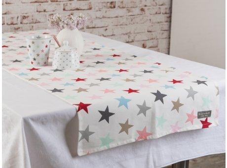 Tischläufer weiss bunte Sterne Krasilnikoff Stern Tischdecke