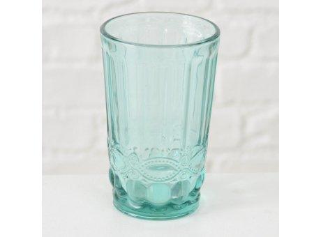 Trinkglas Milano türkis grün Ornament durchgefärbtes Glas 300 ml