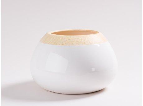 Vase Beatrix weiß 16 cm hoch aus Keramik bauchig Blumenvase mit Holz Design Skandinavisch Dekoration schlicht