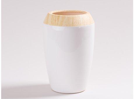 Vase Beatrix weiß 21 cm hoch aus Keramik Blumenvase mit Holz Design Skandinavisch Dekoration schlicht