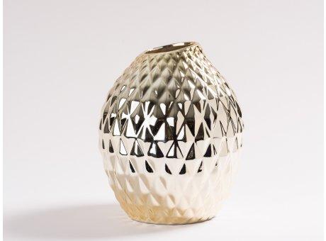 Vase Elfriede Gold glänzend Blumenvase aus Keramik 22 cm groß Deko Struktur Karo Design haptisch