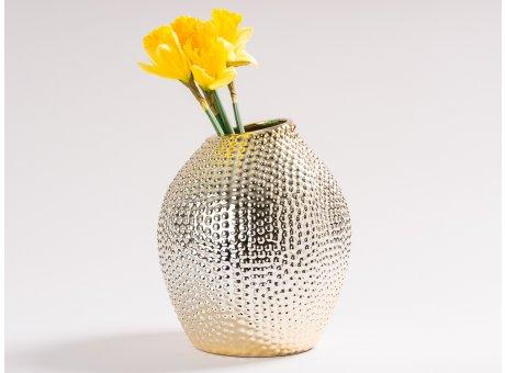 Vase Elisabeth Gold glänzend Blumenvase aus Keramik 22 cm groß Deko Struktur Noppen Design haptisch mit einer Blume
