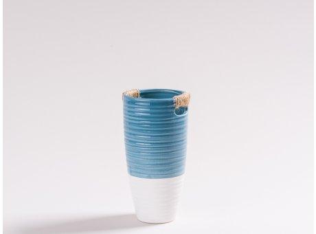 Vase Ella blau und weiß aus Keramik Blumenvase 17 cm hoch skandinavisch Design Dekoration