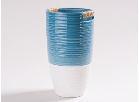 Vase Ella blau und weiß aus Keramik Blumenvase 24 cm hoch skandinavisch Design Dekoration