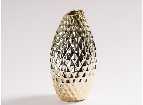 Vase Emma Gold glänzend aus Keramik große Blumenvase 30 cm hoch 3D Struktur Karo Muster moderne Dekoration