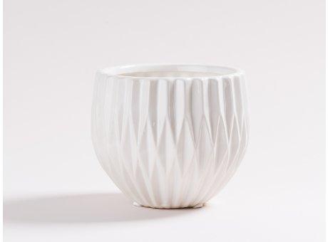 Vase Frieda aus Keramik weiß 13 cm groß Blumenvase Blumentopf und Übertopf modern mit Rillen Struktur