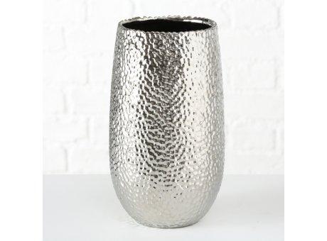Vase FRIEDA Silber 31 cm Blumenvase aus Keramik