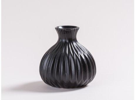 Vase Lina schwarz matt Blumenvase aus Keramik 12 cm hoch Rillen Design modern für eine Blume