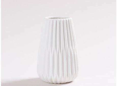 Vase Line weiß aus Keramik Blumenvase 15 cm hoch mit Rillen und 3D Struktur Dekoration modern