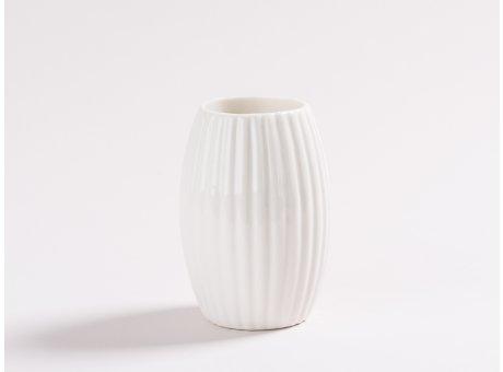 Vase Silda weiß aus Porzellan 9 cm Blumenvase mit Streifen Design Deko kleine Vase