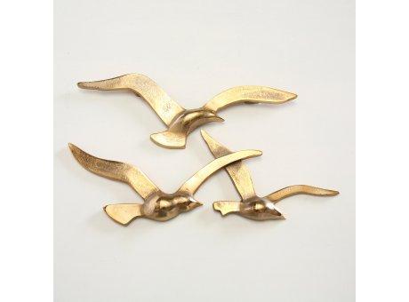 Wand Objekt Möwe gold aus Aluminium Schwarm mit drei Möwen
