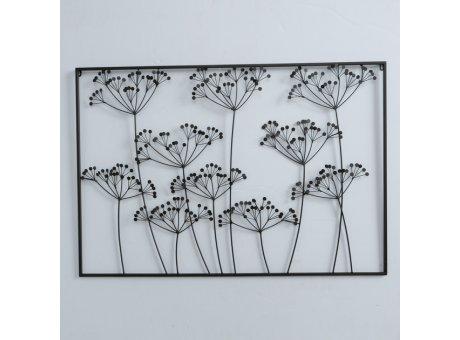 Wandobjekt Wiesenblumen Schwarz 75x110 cm Wandbild aus Metall