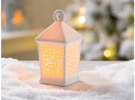 Weihnachtsdeko Laterne Halea weiß Porzellan mit LED Licht