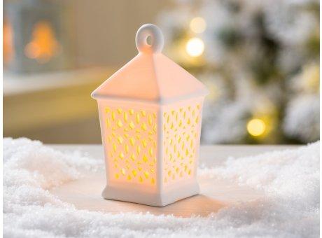 Weihnachtsdeko Laterne Olaya weiß Porzellan mit LED Licht