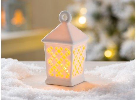 Weihnachtsdeko Laterne Oletta weiß Porzellan mit LED Licht