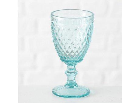 Weinglas Milano aqua türkis grün Rauten Muster durchgefärbtes Glas 250 ml Trinkglas Höhe 17 cm