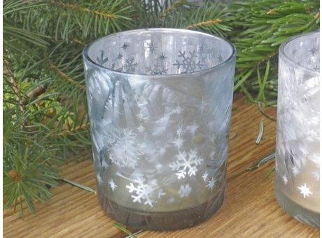 Windlicht Emilie türkis mattiert mit Schneekristal 10 cm aus Glas Weihnachtsdeko