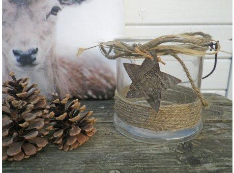 Windlicht Glas Amelie mit Henkel und Stern 13 cm Weihnachtsdeko