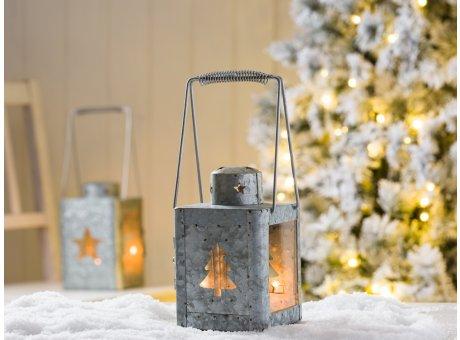 Windlicht Laterne Maria Metall Zink Optik mit Tannenbaum und mit Stern