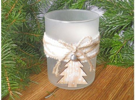 Windlicht Oline groß matt weiß mit Holz Tannenbaum 13 cm Weihnachtsdeko