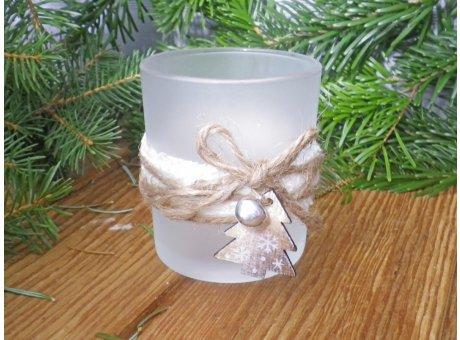 Windlicht Oline matt weiß mit Holz Tannenbaum 8cm Weihnachtsdeko