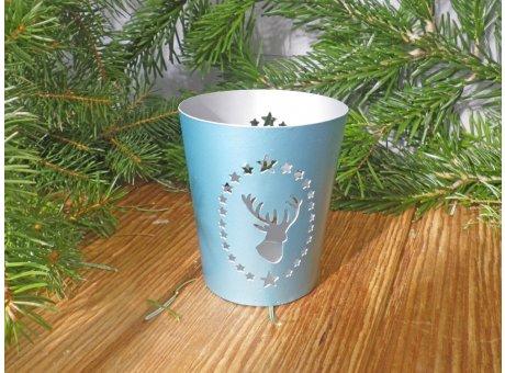 Windlicht Rentier mit Sternen türkis klein Weihnachtsdeko