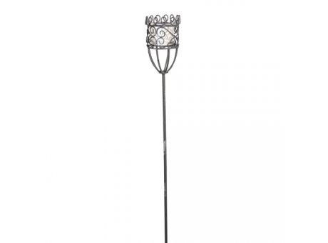Windlicht Stab Greta Gartenstecker aus Metall mit Windlicht Glas 100 cm