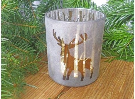 Windlicht Waldesruh braun mit Hirsch 10 cm groß Weihnachtsdeko