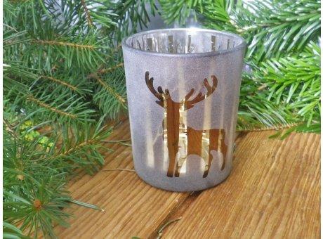Windlicht Waldesruh braun mit Hirsch 8 cm Weihnachtsdeko