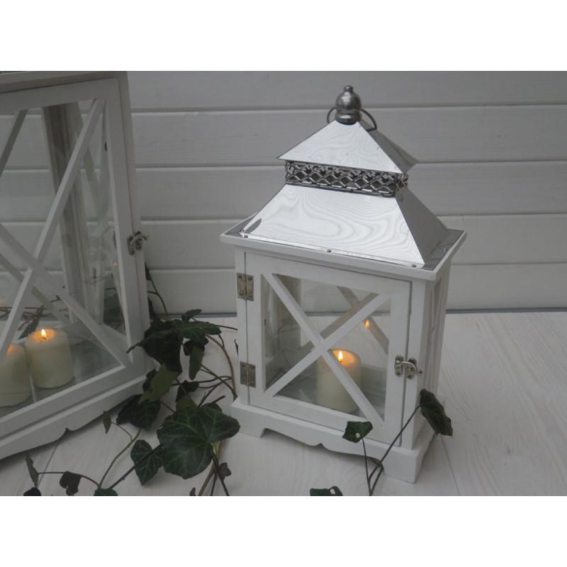 laterne romance 45 cm edelstahl dach holz wei rechteckig garten laterne. Black Bedroom Furniture Sets. Home Design Ideas