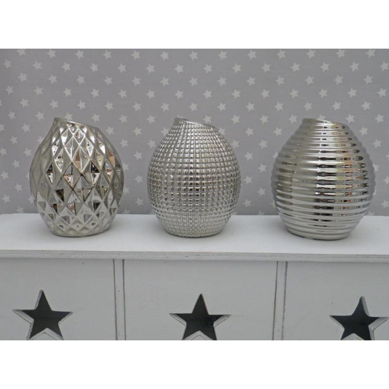 vase lucky silber blumenvase aus keramik deko in silber. Black Bedroom Furniture Sets. Home Design Ideas