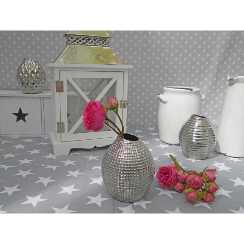 Vase lucky silber blumenvase aus keramik deko in silber for Deko aus silber