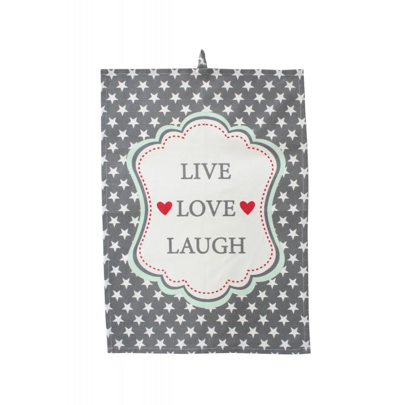 Krasilnikoff Geschirrtuch Live Love Laugh grau mit Stern