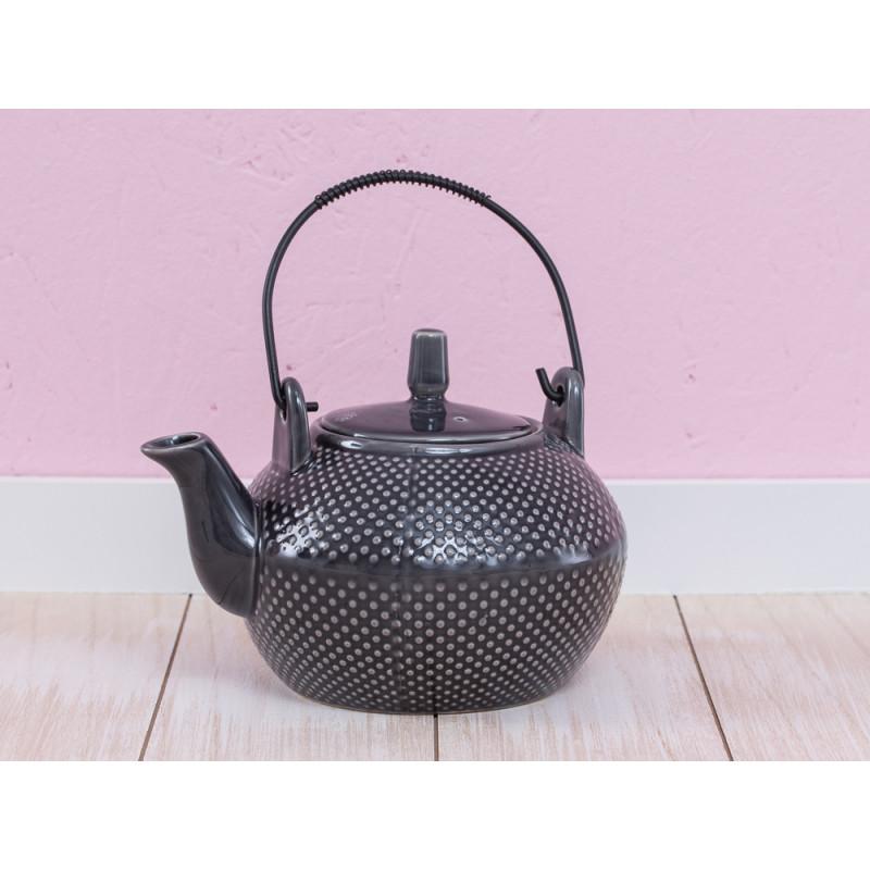 A Simple Mess Teekanne anthrazit grau mit Punkten Asia Geschirr Design by Louise Dorph Dänemark