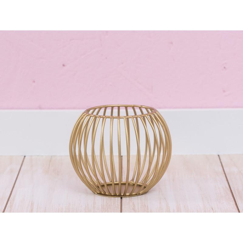 a simple mess teelichthalter elisa klein f r 1 teelicht gold farbig mit streben runde form. Black Bedroom Furniture Sets. Home Design Ideas