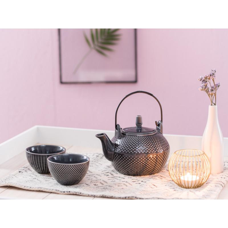 A Simple Mess Teetasse anthrazit grau mit Punkten Streifen Teekanne Asia Windlicht Elisa Vase Cecilie Geschirr Design by Louise Dorph Dänemark