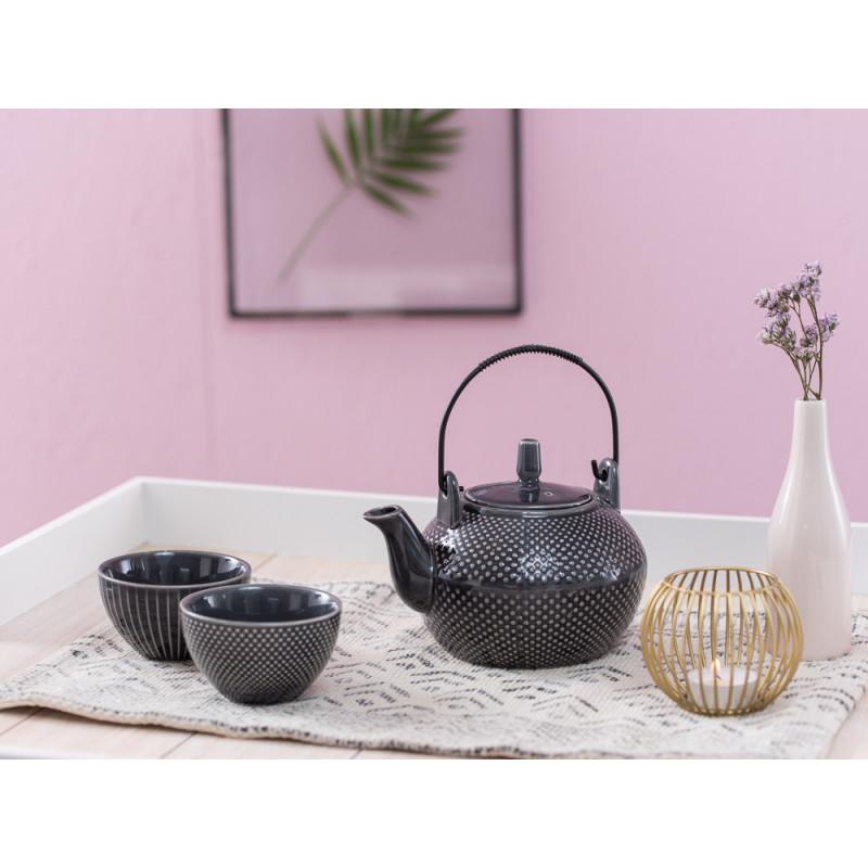 A Simple Mess Teetasse anthrazit grau mit Punkten Streifen Tischset Mille Teekanne mit Deckel Asia Geschirr Design by Louise Dorph Dänemark