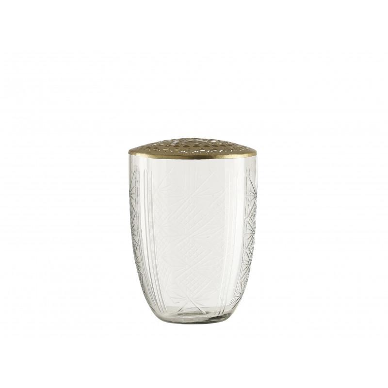 A simple Mess Vase Kanya Glas mit Deckel aus messing Blumenvase 15 cm