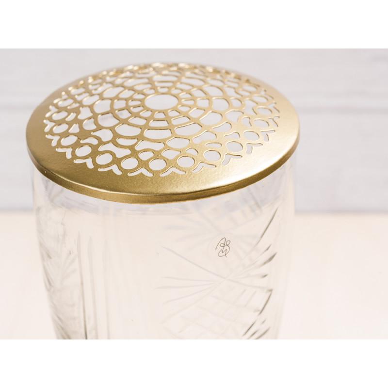 A simple Mess Vase Kanya Glas mit Deckel Messing Blumenvase Design Detail