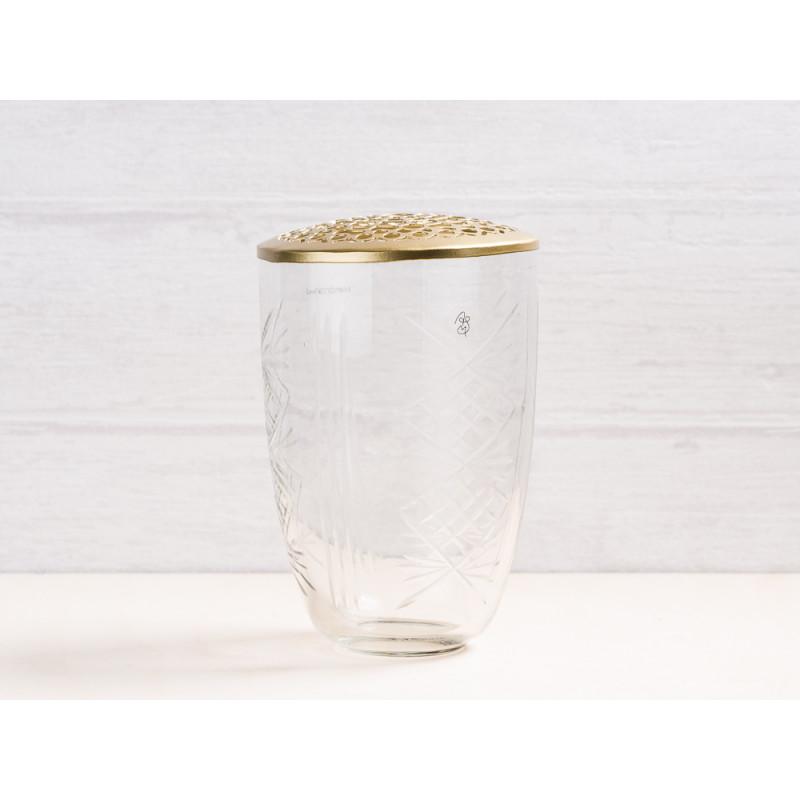 A simple Mess Vase Kanya Glas mit Deckel Metall gold Blumenvase 15 cm hoch Deko Design für eine Blume