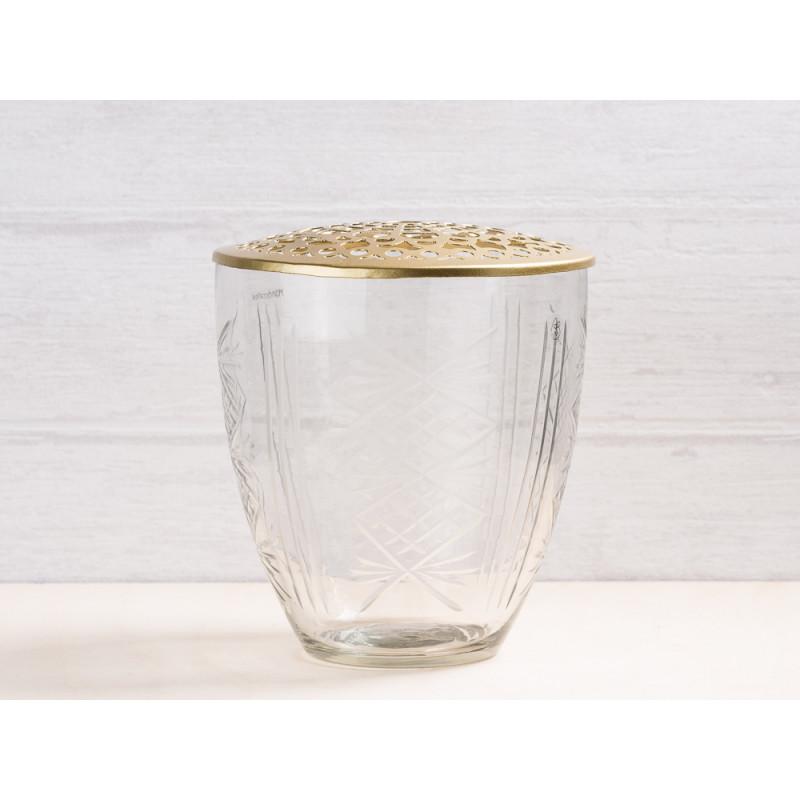 A simple Mess Vase Kari Glas mit Deckel Metall gold Blumenvase 15 cm hoch Deko Design für eine Blume