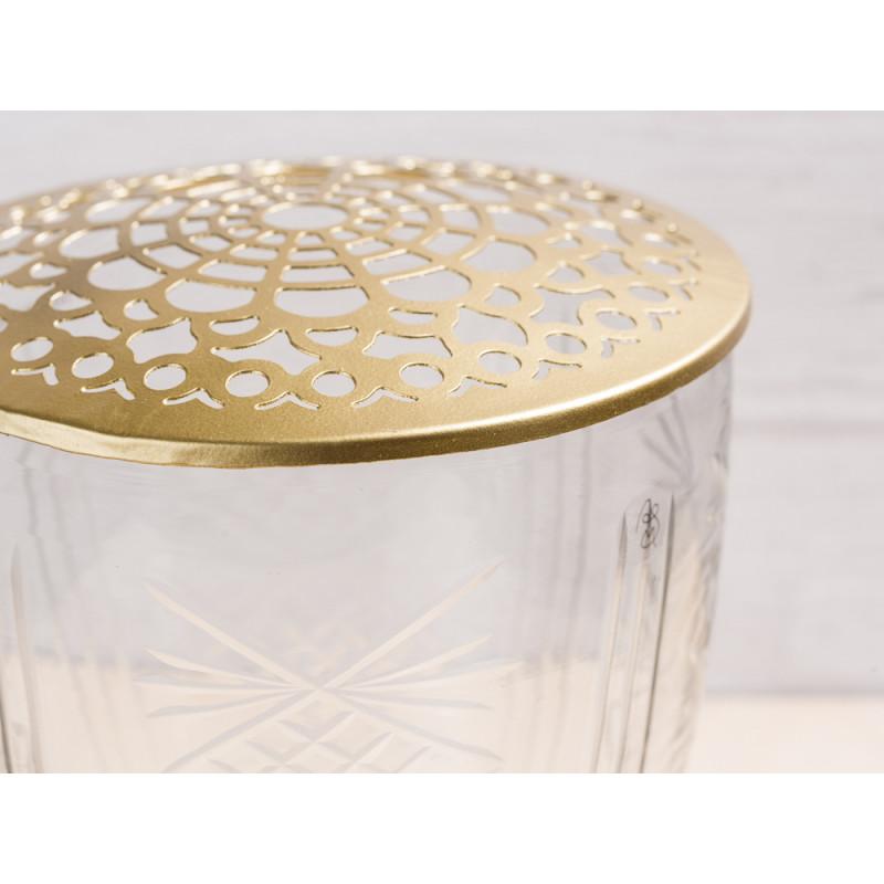 A simple Mess Vase Kari Glas mit Deckel Metall gold Blumenvase Design Detail