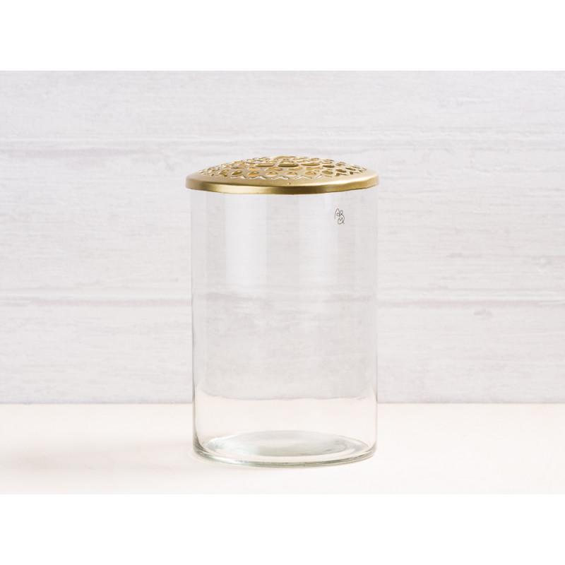 A simple Mess Vase Kassandra aus Glas mit Deckel aus Metall Gold Blumenvase 10 cm hoch Deko Design mit Gravur für eine Blume